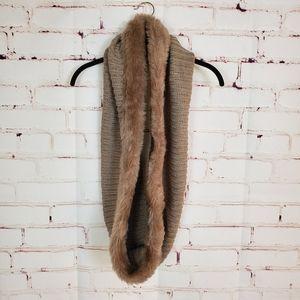 New York Company Knit/Faux Fur Trim Infinity Scarf